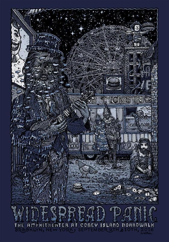"""Widespread Panic - Brooklyn, NY 2016"" by David Welker.  16"" x 24"" 5-color Screenprint.  AP edition of 100 S/N.  $70 (variant)"
