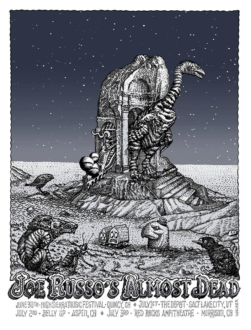 """Joe Russo's Almost Dead - Summer Tour 2016"" by David Welker.  16"" x 24"" 4-color Screenprint.  Ed of 50.  $40"