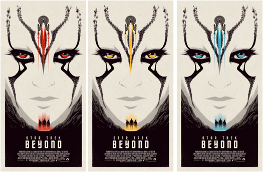 "Star Trek Beyond by Matt Ferguson 3 different Colours, Each an Edition of 30 18"" x 36"" inch, 5 Colour Screen Print Printed by Lady Lazarus on Speckletone Paper Free with any print purchase, while stocks last"