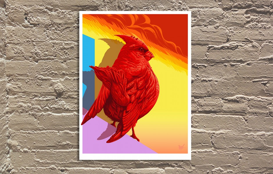 """Northern Cardinal"" by Andrew Ghrist.  18"" x 24"" 13-color Screenprint.  Ed of 80 S/N.  $50"