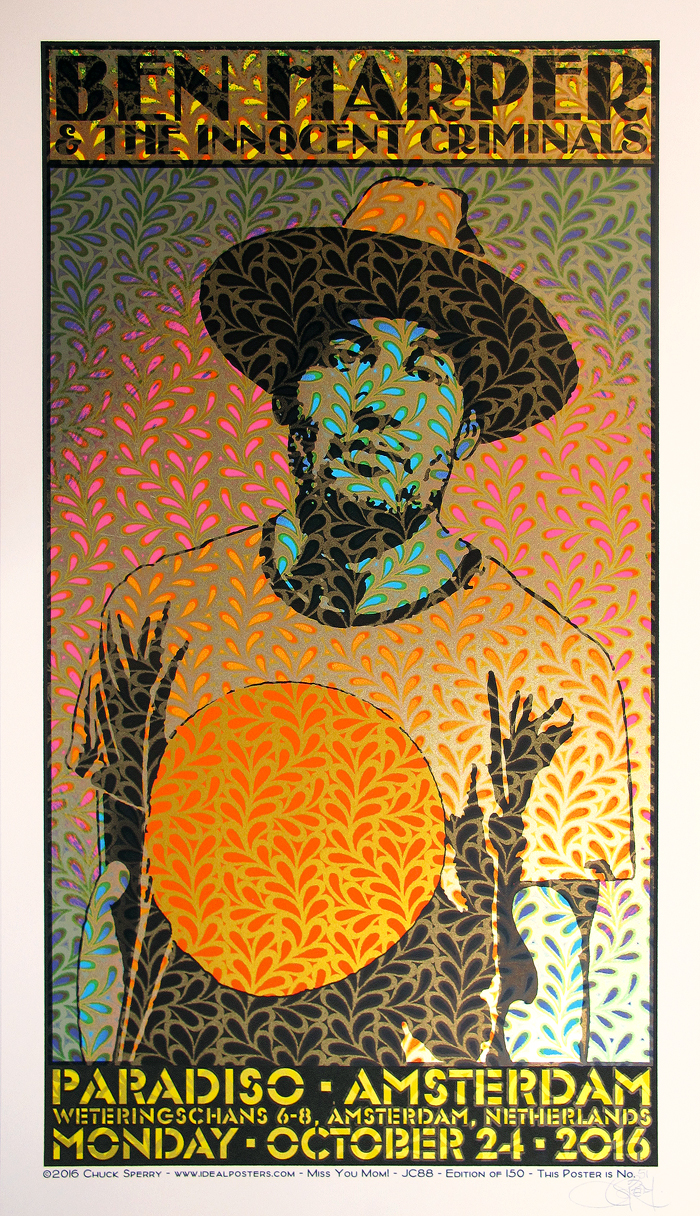 """Ben Harper - Paradiso, Amsterdam 2016"" by Chuck Sperry.  19"" x 33"" 5-color Screenprint.  Ed of 150 S/N."