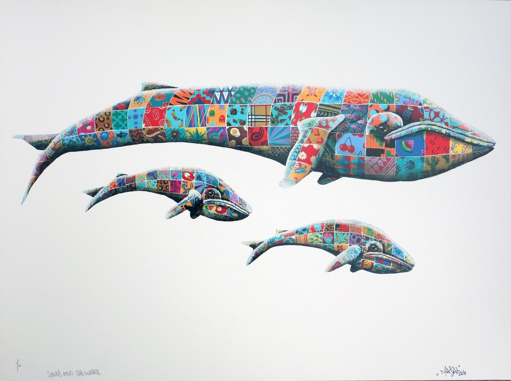 """Jonas & the Whale"" by Louis Masai.  69.5 x 51.5cm 23-color Screenprint.  Ed of 75 S/N.  £150 ($184)"