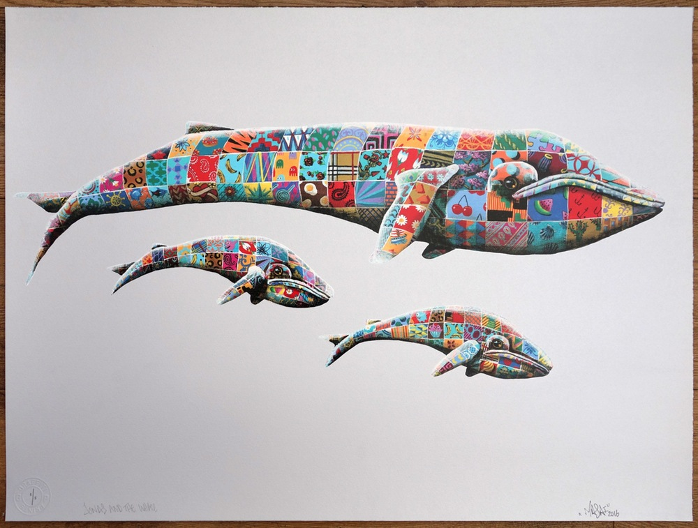 """Jonas & the Whale"" by Louis Masai.  69.5 x 51.5cm 23-color Screenprint.  Ed of 8 S/N.  £225 ($275) (Silver variant)"