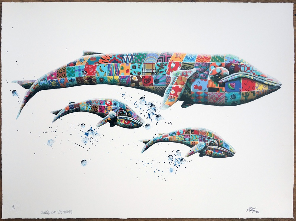 """Jonas & the Whale"" by Louis Masai.  69.5 x 51.5cm 23-color Screenprint, hand-finished.  Ed of 23 S/N.  £275 ($337)"