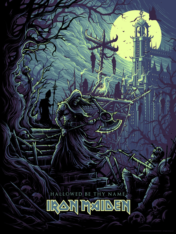 """Hallowed Be Thy Name"" by Dan Mumford.  18"" x 24"" Screenprint.  Ed of 200.  $50"