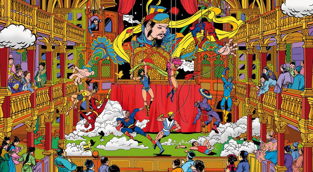 """Puppets"" by Jacky Tsai.  45.28"" x 24.8"" 18-color Screenprint.  Ed of 60 S/N.  $1510"
