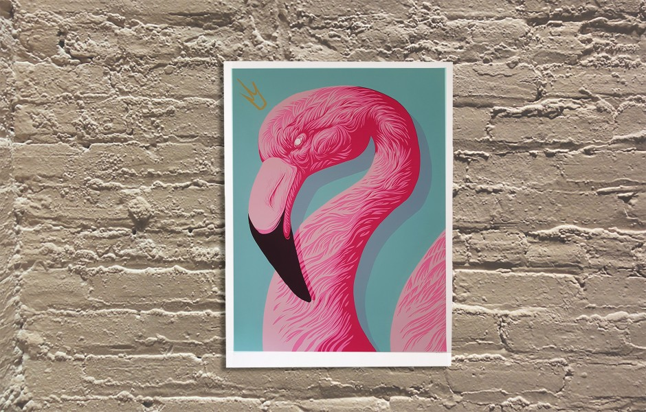 """Flamingo Queen"" by Andrew Ghrist.  18"" x 24"" Screenprint.  $50"