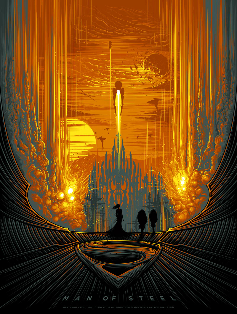 """Man of Steel"" by Dan Mumford.  18"" x 24"" 7-color Screenprint w/ varnish.  Ed of 180 S/N.  45€ ($49)"