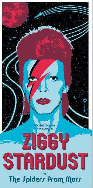 """Ziggy Stardust"" by Brian Miller.  12"" x 24"" Screenprint.  Ed of 150.  $50"