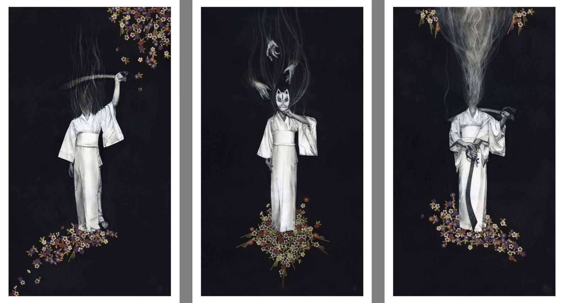 "'Yurei - Yokai' series by Stephanie Inagaki.  (3) 13"" x 22"" Giclees.  Ed of 40 S/N.  $55 each : $150 set"