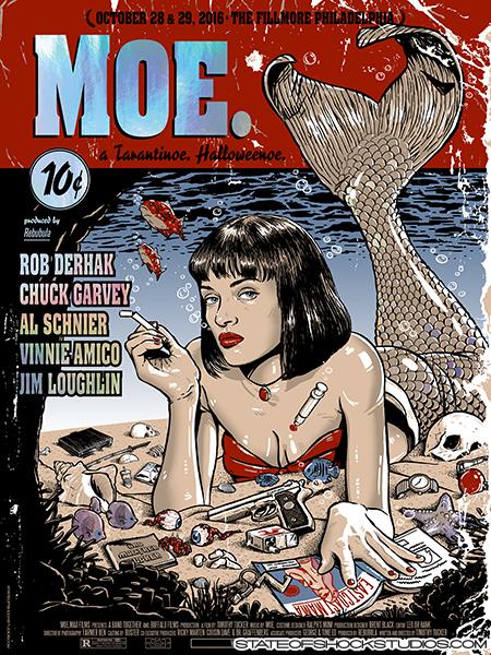"""Moe. - Philadelphia, PA 2016"" by Darin Shock.  18"" x 24"" 6-color Screenprint.  Ed of 12 S/N.  $60 (Rainbow Foil)"
