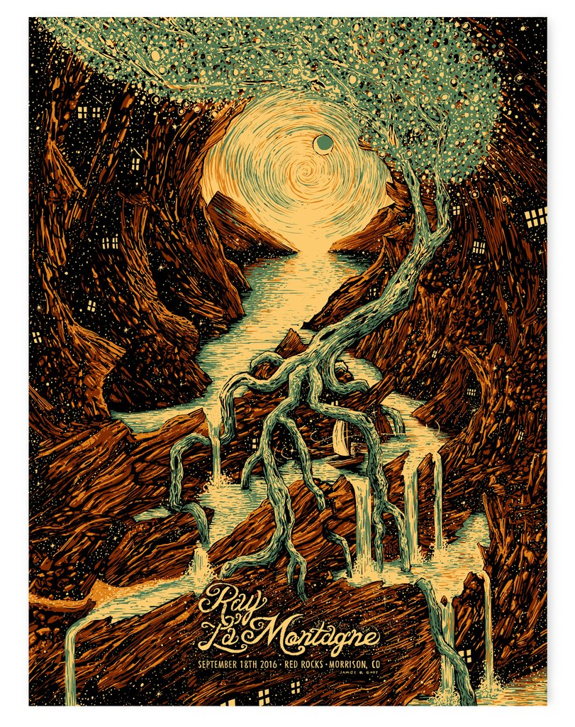"""Ray LaMontagne - Morrison, CO 2016"" by James R Eads.  18"" x 24"" 5-color Screenprint.  AP edition of 50 S/N.  $50"