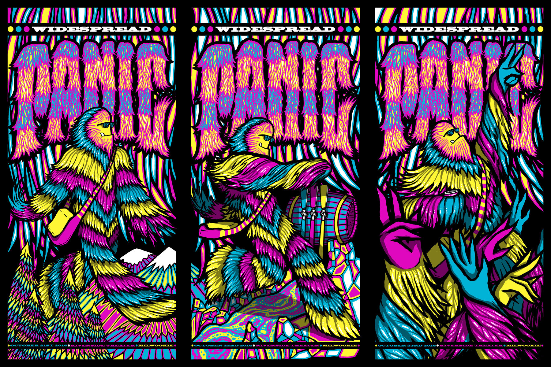 """Widespread Panic - Milwaukee, WI 2016"" by Brad Klausen.  36"" x 24"" 5-color Screenprint.  Ed of 100 S/N.  $90"