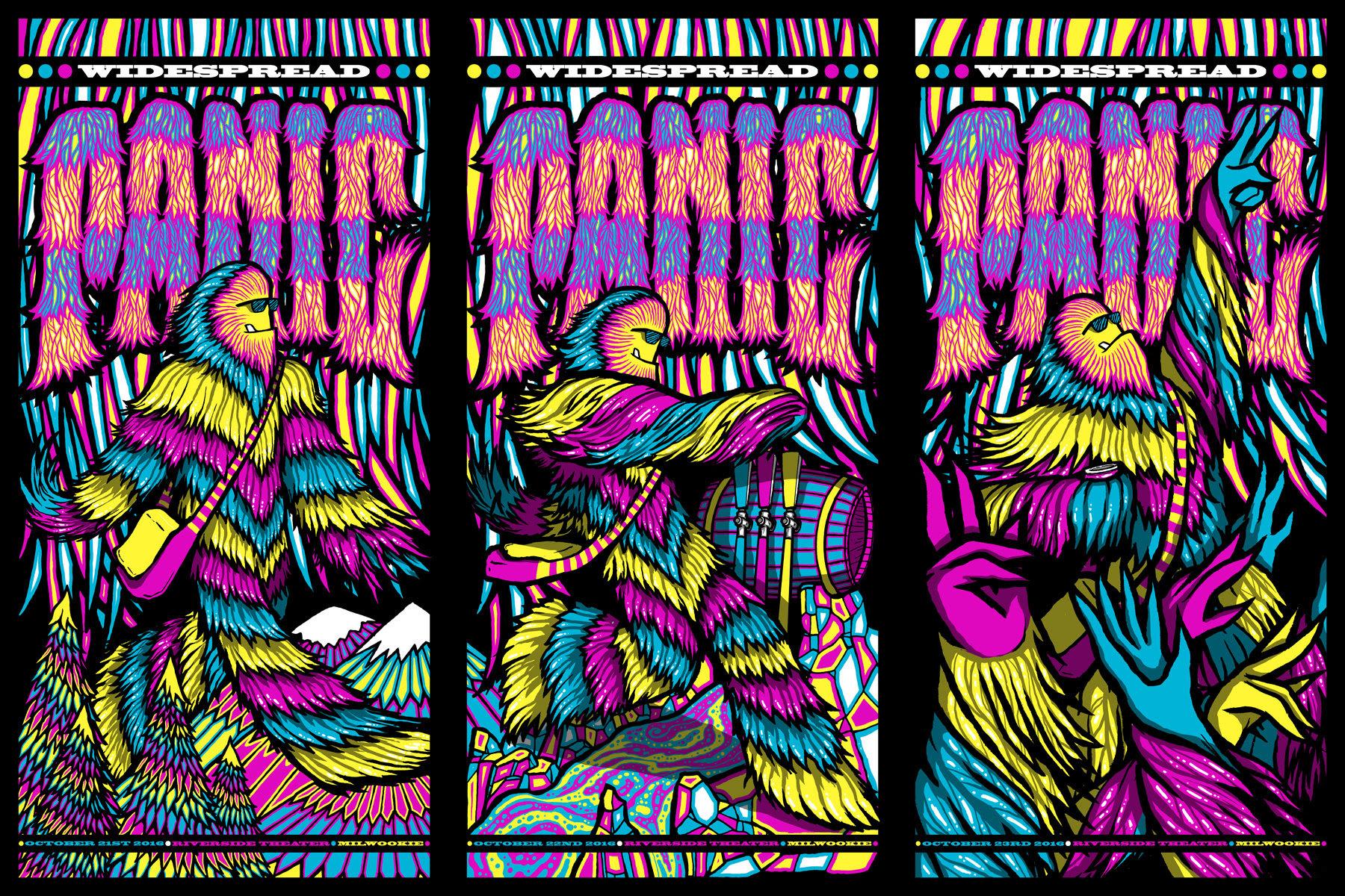 """Widespread Panic - Milwaukee, WI 2016"" by Brad Klausen.  36"" x 24"" 5-color Screenprint.  Ed of 100 S/N.  $90"