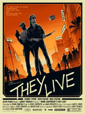 """They Live by Matt Ferguson Edition of 120 18"""" x 24"""" inch, 6 Colour Glow In The Dark Screen Print Printed by Lady Lazarus on 100# French Cement Green £30"""