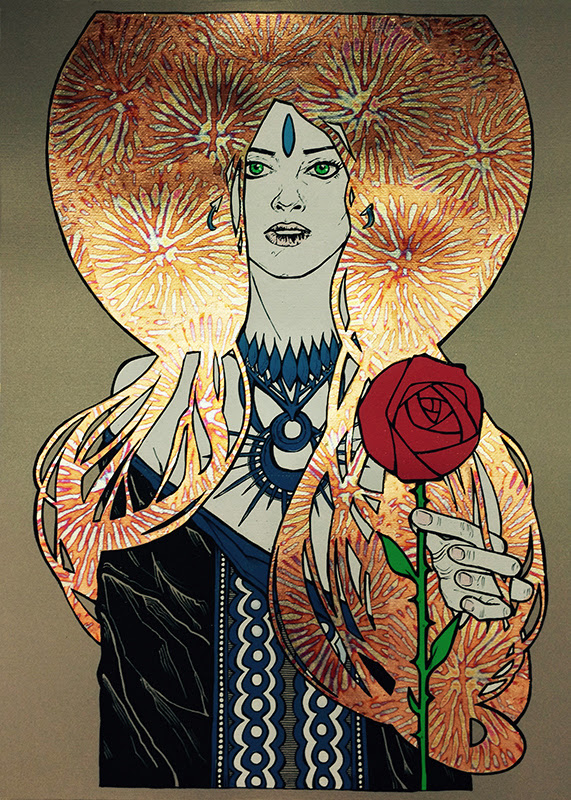 """Terra"" by Malleus.  50 x 70cm 6-color Screenprint w/ metal gold gilding on gold glittered paper.  Ed of 18 S/N. (variant)"