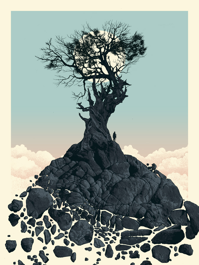 """All Was Right With The World"" by Dan McCarthy.  18"" x 24"" 5-color Screenprint.  Signed/Numbered.  $40"