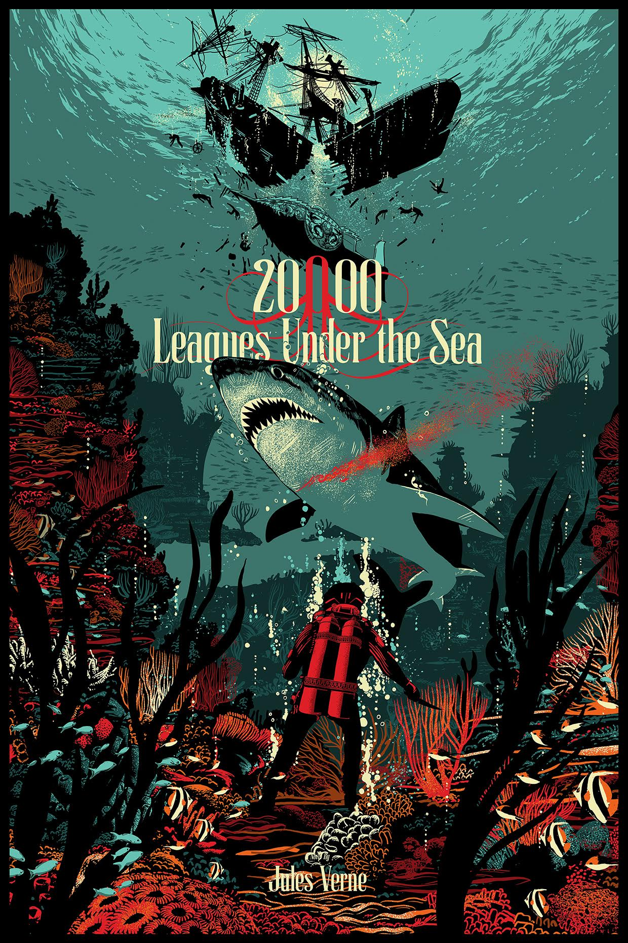 """20,000 Leagues Under the Sea"" by Raid71.  24"" x 36"" Screenprint.  Ed of 100.  $50"