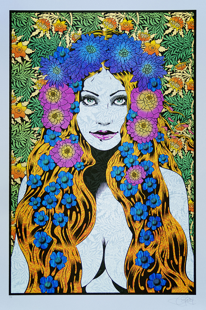 """Lysistrata"" by Chuck Sperry.  21"" x 31.5"" 7-color Screenprint.  Ed of 15 S/N.  (Blue Opal)"