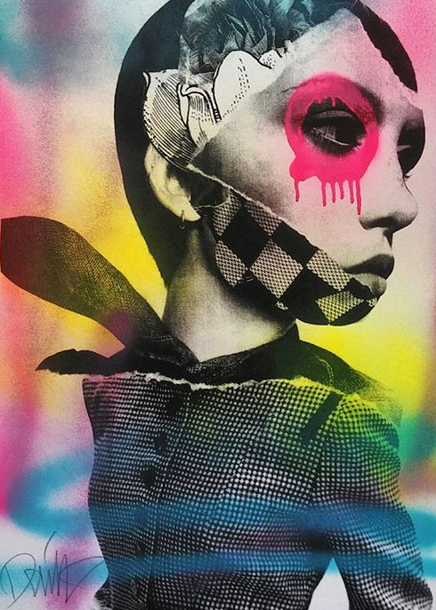 """Face Floral"" by Dain.  18"" x 24"" Screenprint, hand-finished.  Ed of 75 S/N.  $225"