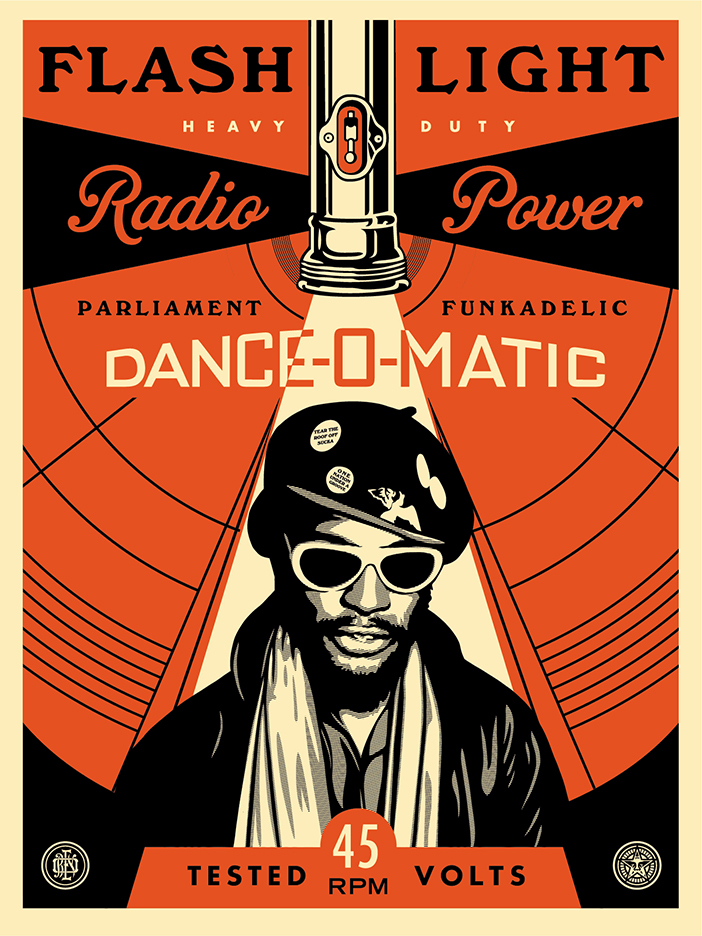 """George Clinton Flash Light"" by Shepard Fairey.  18"" x 24"" Screenprint.  Ed of 450 S/N.  $65"