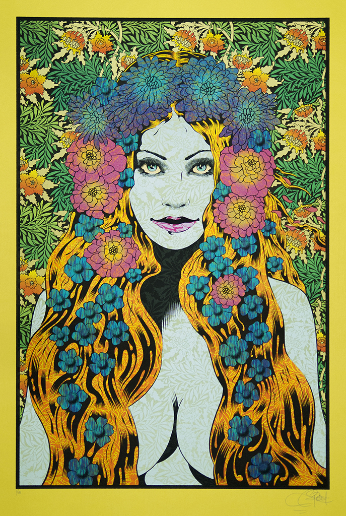 """Lysistrata"" by Chuck Sperry.  21"" x 31.5"" 7-color Screenprint.  Ed of 15 S/N.  (Gold)"