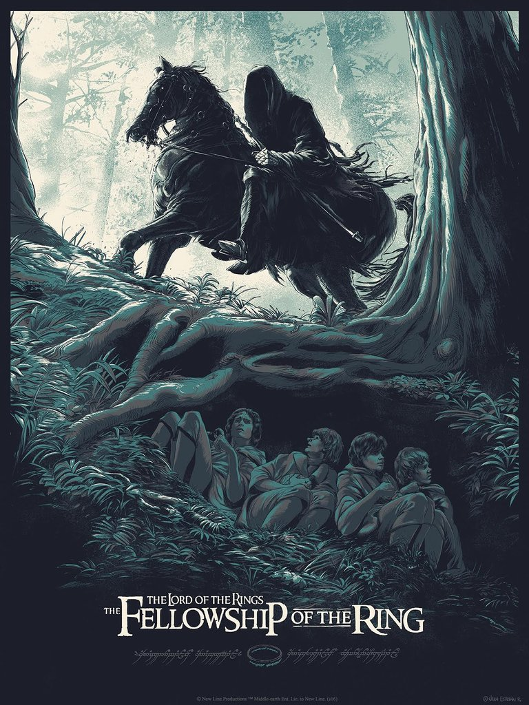 """LOTR: The Fellowship of the Ring"" by Juan Esteban Rodriguez.  18"" x 24"" Screenprint.  Ed of 300.  $40"