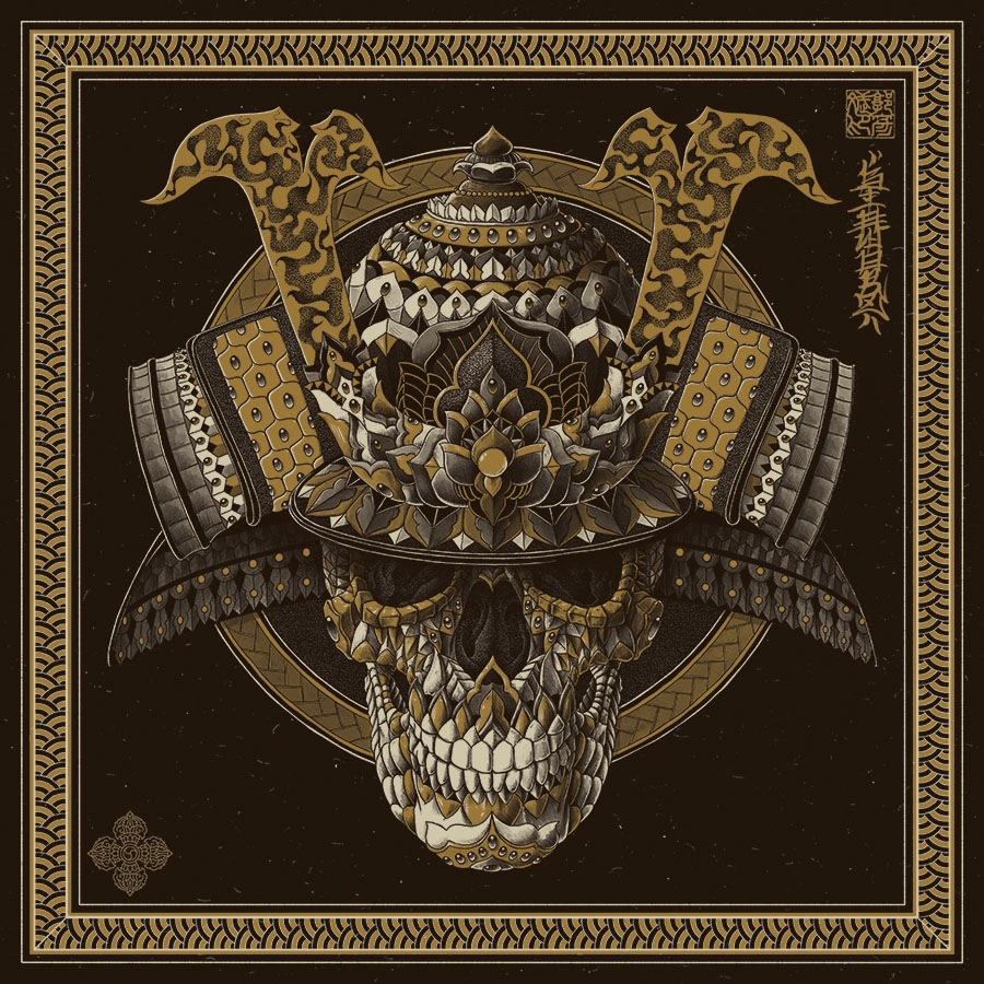 """Samurai Skull"" by Bioworkz.  20"" x 20"" 2-color Screenprint.  Ed of 100 S/N.  $39.99"