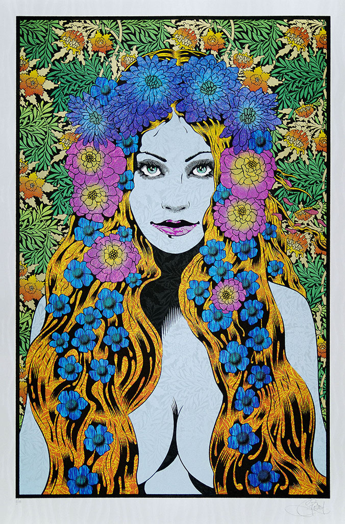 """Lysistrata"" by Chuck Sperry.  21"" x 31.5"" 7-color Screenprint.  Ed of 15 S/N.  (Wave Foil)"