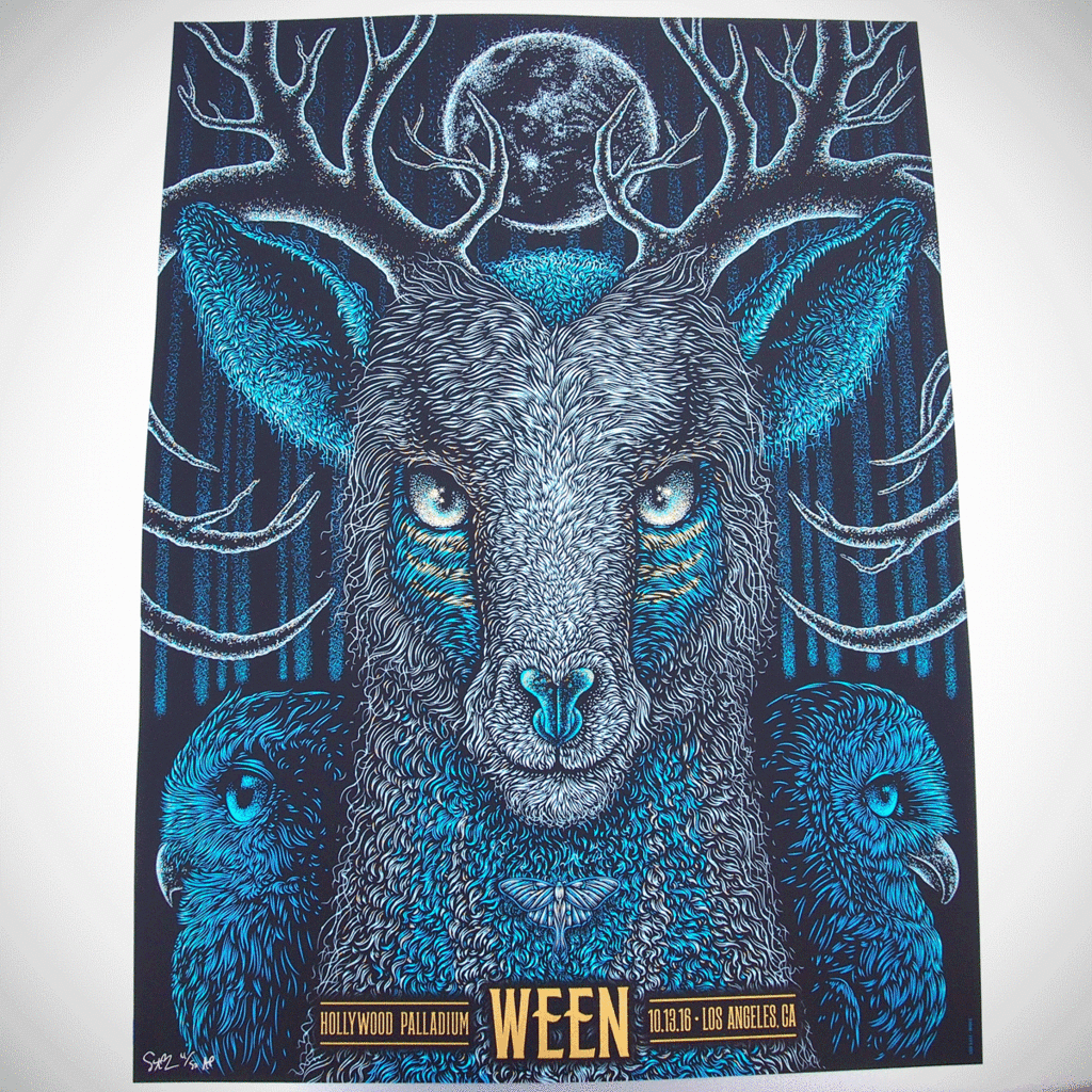 """Ween - Los Angeles, CA 2016"" by Todd Slater.  18"" x 24"" 6-color Screenprint.  Artist Edition of 50 S/N.  $50"