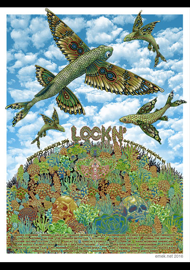 """Lockn' Fest 2016"" by Emek.  18"" x 24"" Screenprint.  Artist edition of 111 S/N.  $100"