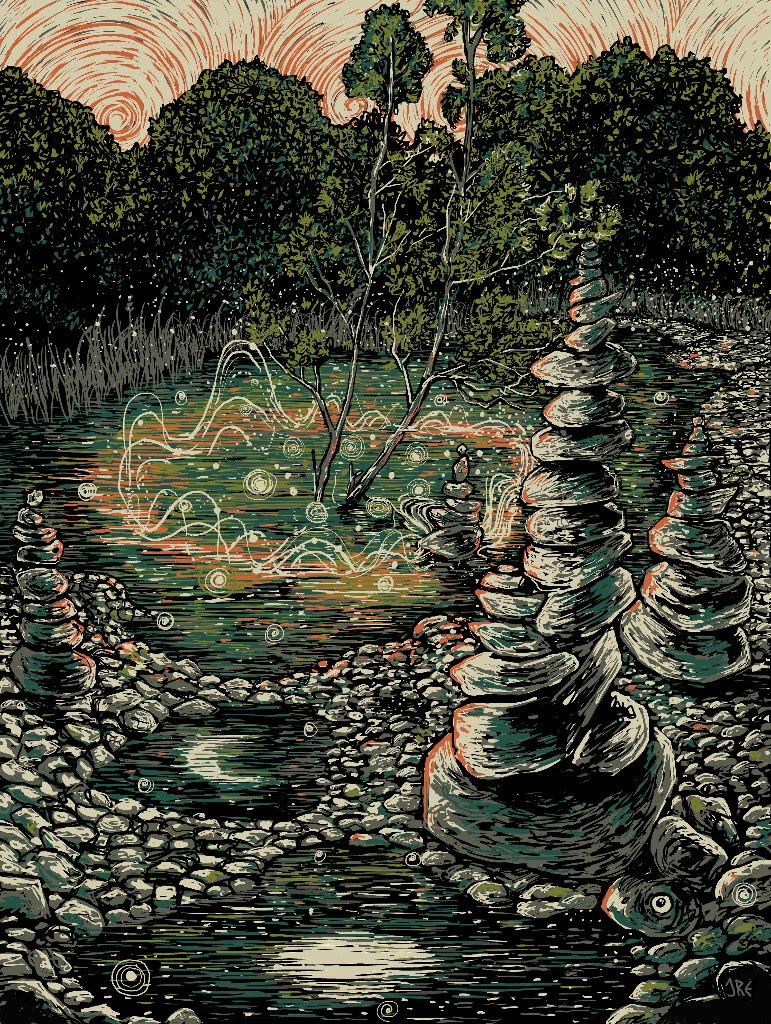"""Spirit Stones"" by James R Eads.  18"" x 24"" 5-color Screenprint.  Ed of 50 S/N.  $40"