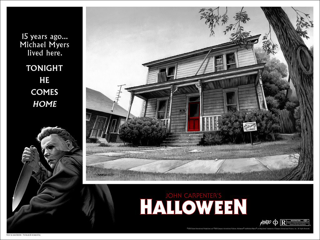 "Halloween by Jason Edmiston. 24""x18"" screen print. Hand numbered. Edition of 325. Printed by D&L Screenprinting. $45"