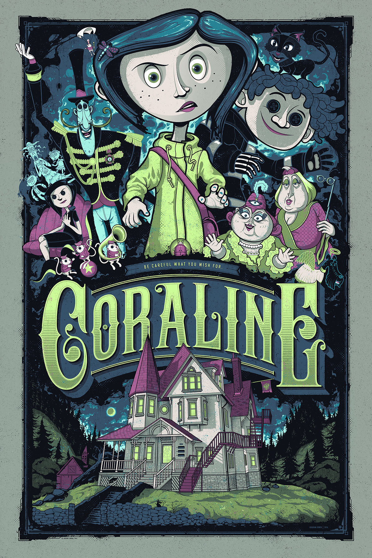 "Coraline (Variant) by Graham Erwin. 24""x36"" screen print. Hand numbered. Edition of 125. Printed by D&L Screenprinting. $65"