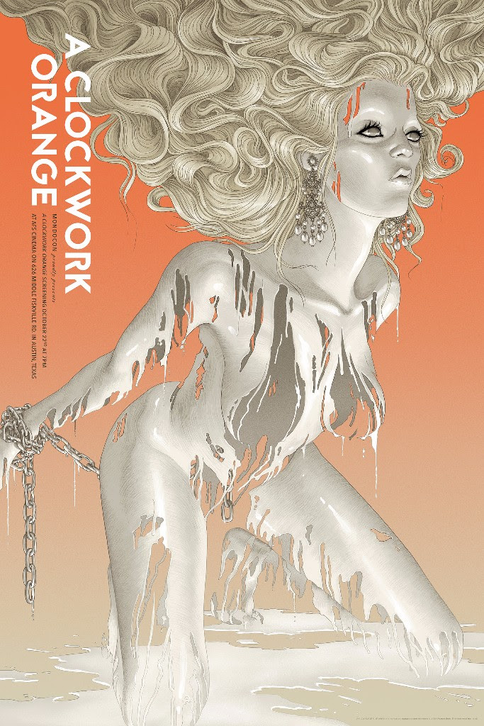 "A Clockwork Orange by Rory Kurtz. 24""x36"" screen print. Hand numbered. Edition of 300. Printed by D&L Screenprinting. $55"