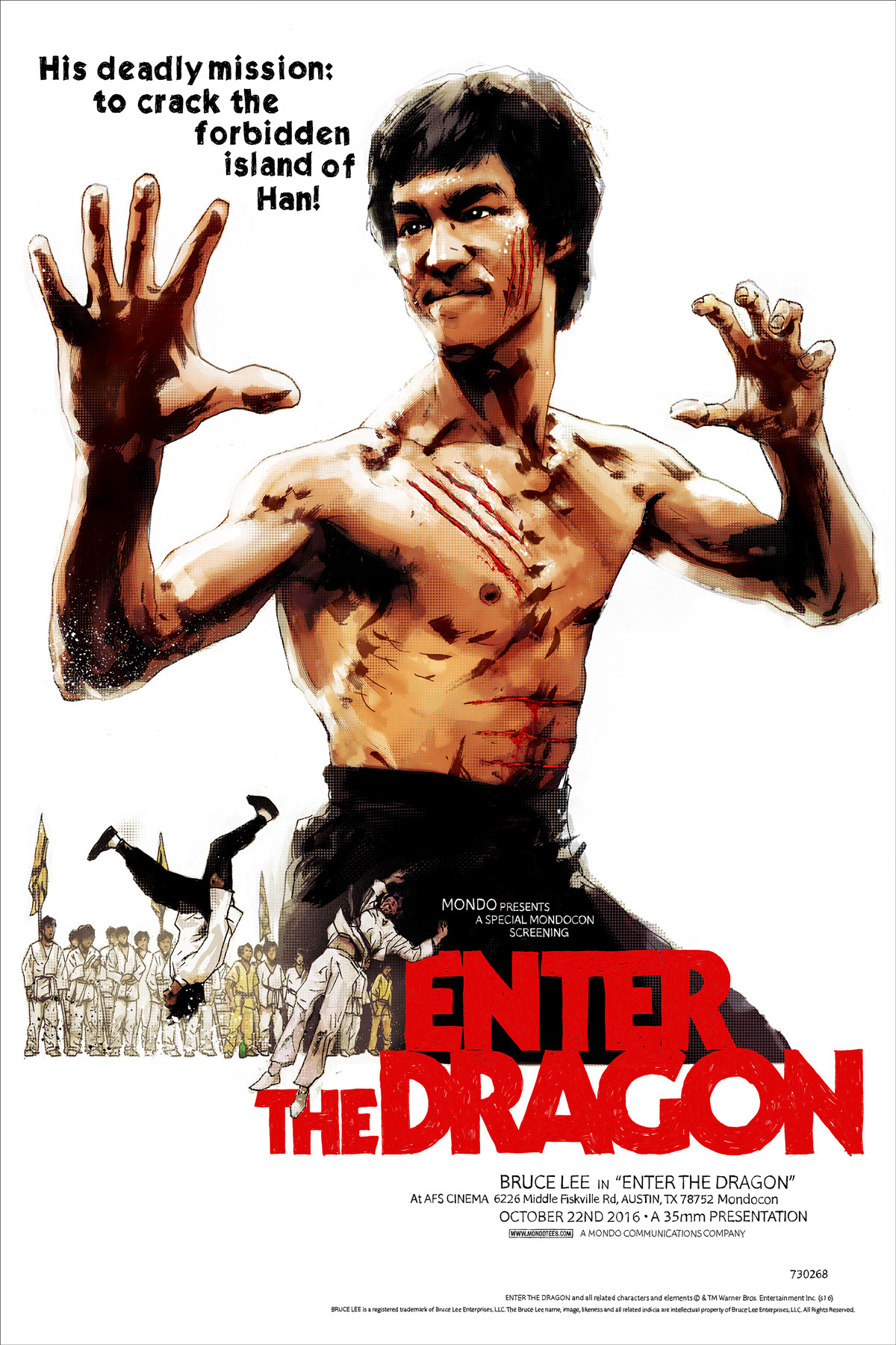 "Enter the Dragon by Jock. 24""x36"" screen print. Hand numbered. Edition of 300. Printed by D&L Screenprinting. $55"