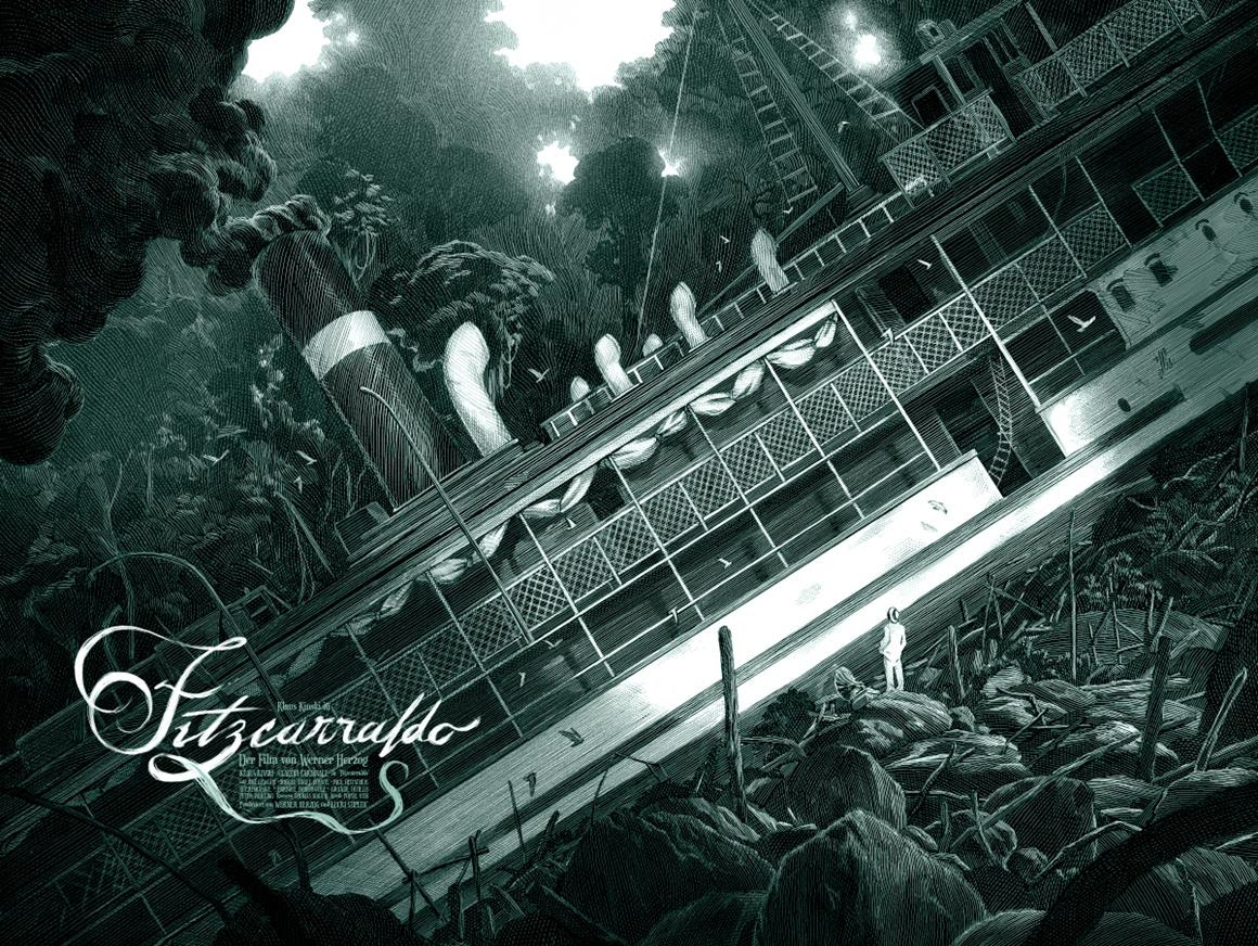 """Fitzcarraldo"" by Nicolas Delort.  18"" x 24"" 4-color Screenprint.  Ed of 50 N.  £65 ($81) (variant)"