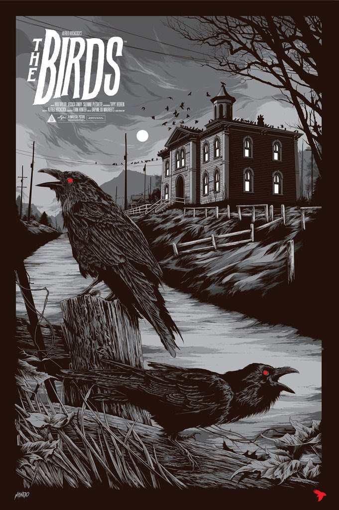 "The Birds (Variant) by Ken Taylor. 24""x36"" screen print. Hand numbered. Edition of 175. Printed by D&L Screenprinting. $65"