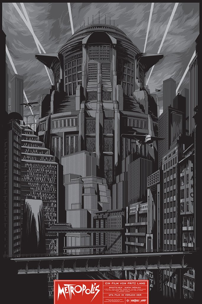 "Metropolis by Ken Taylor. 24""x36"" screen print. Hand numbered. Edition of 225. Printed by D&L Screenprinting. $45"