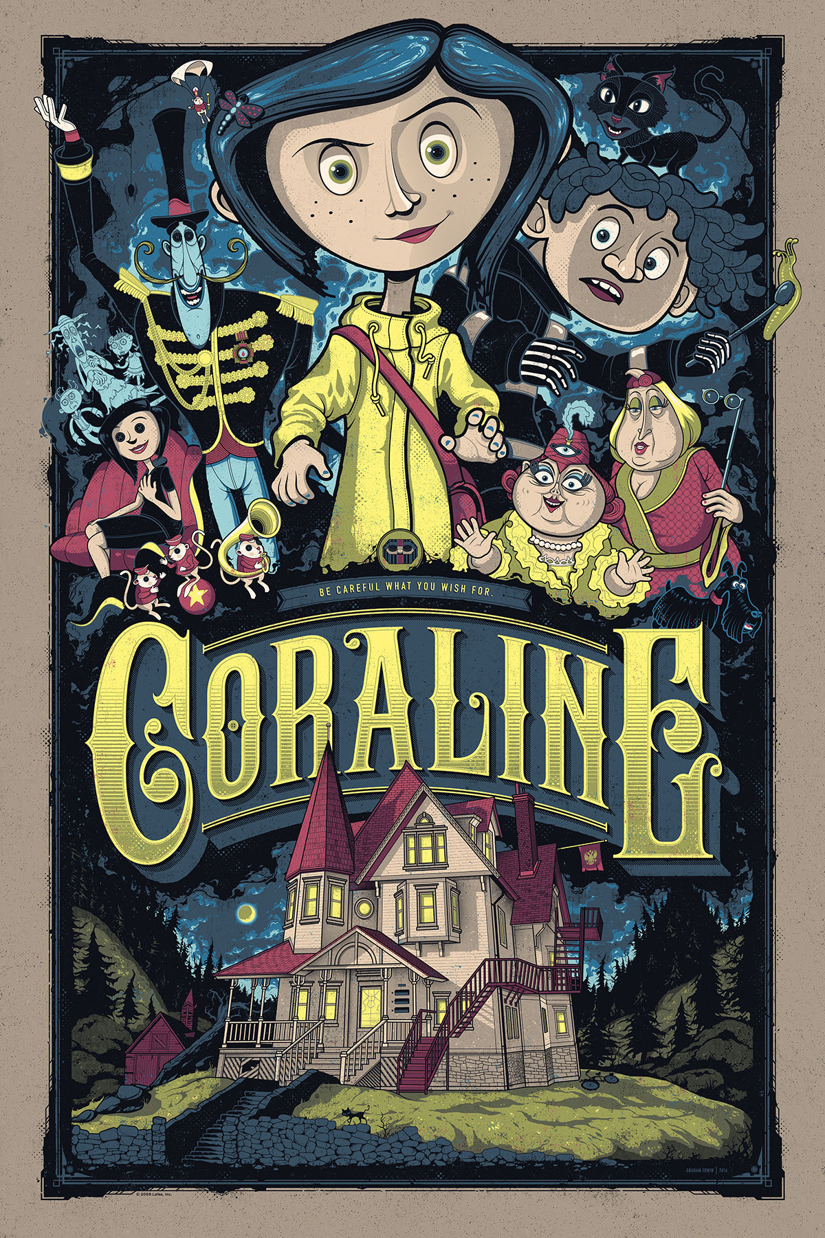 "Coraline by Graham Erwin. 24""x36"" screen print. Hand numbered. Edition of 225. Printed by D&L Screenprinting. $45"