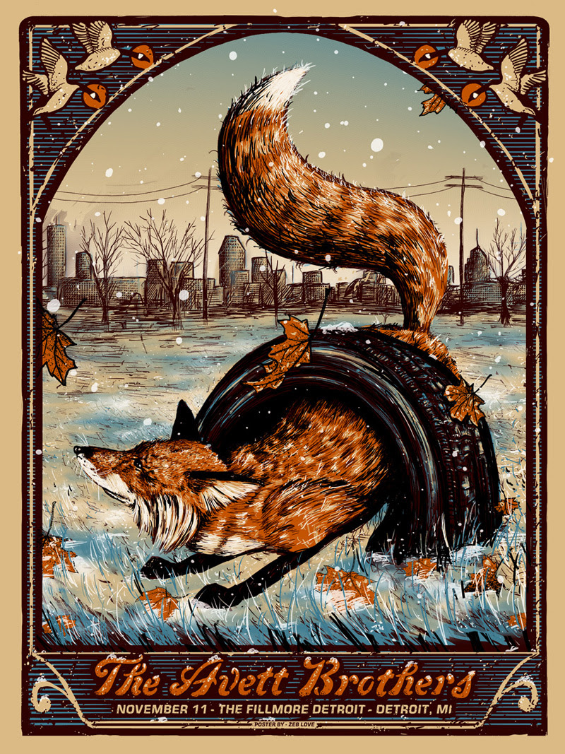 """The Avett Brothers - Detroit, MI 2016"" by Zeb Love.  18"" x 24"" 5-color Screenprint.  Ed of 200.  $35 (Night 2)"