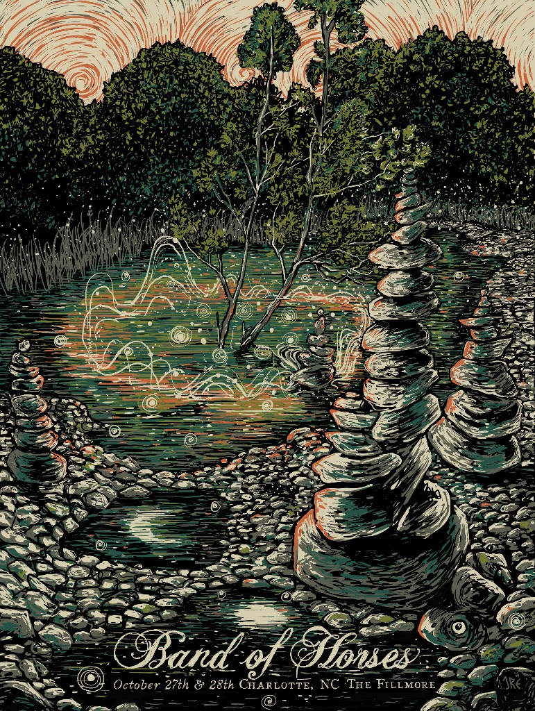 """""""Band of Horses - Charlotte, NC 2016"""" by James R Eads.  18"""" x 24"""" 5-color Screenprint.  AP edition of 50 S/N.  $30"""