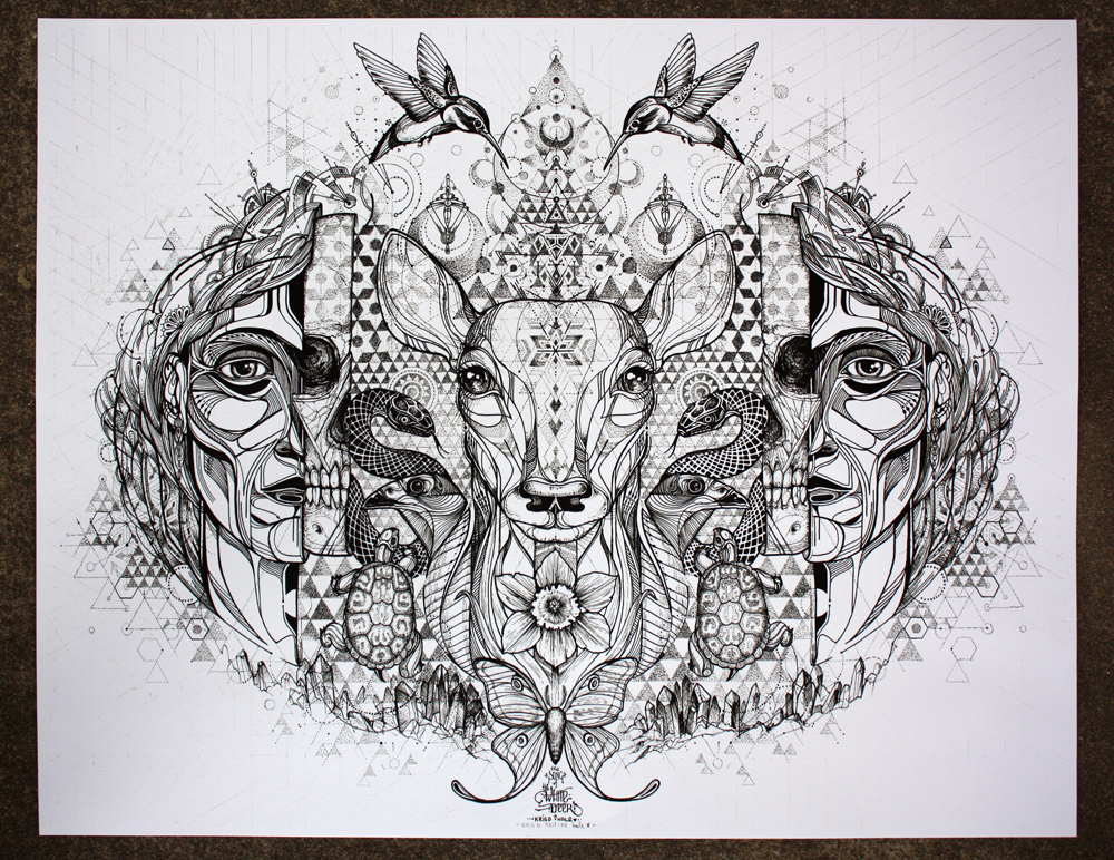 """Song of the White Deer"" by Kris D and David Hale.  28"" x 22"" 2-color Screenprint.  Ed of 100 S/N.  $120"