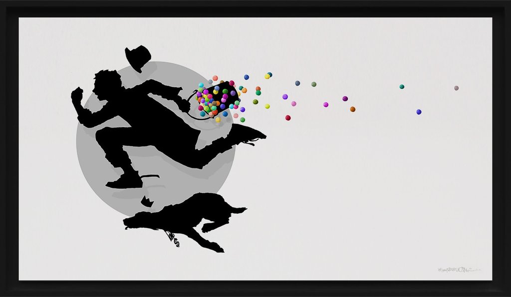 """Catch Me If You Can"" by Kenny Random.  56 x 100cm Giclee.  Timed edition.  €250 ($268) (White)"
