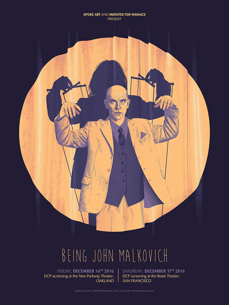 """Being John Malkovich"" by Guillaume Morrellec.  18"" x 24"" 5-color Screenprint.  Ed of 75.  $40"