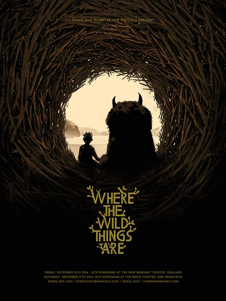 """Where the Wild Things Are"" by Matt Taylor.  18"" x 24"" 5-color Screenprint.  Ed of 100.  $40"
