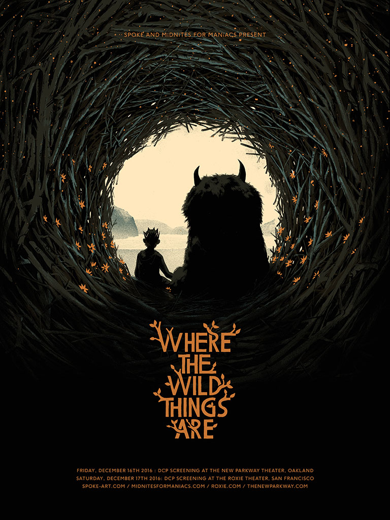 """Where the Wild Things Are"" by Matt Taylor.  18"" x 24"" 5-color Screenprint w/ metallics.  Ed of 40.  $40. (variant)"