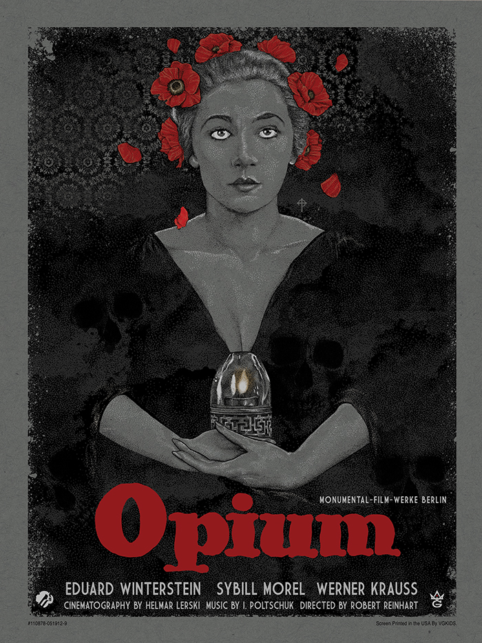 """Opium"" by Timothy Pittides.  18""  x 24"" 5-color Screenprint w/ metallic gold + silver.  Ed of 35.  $45"