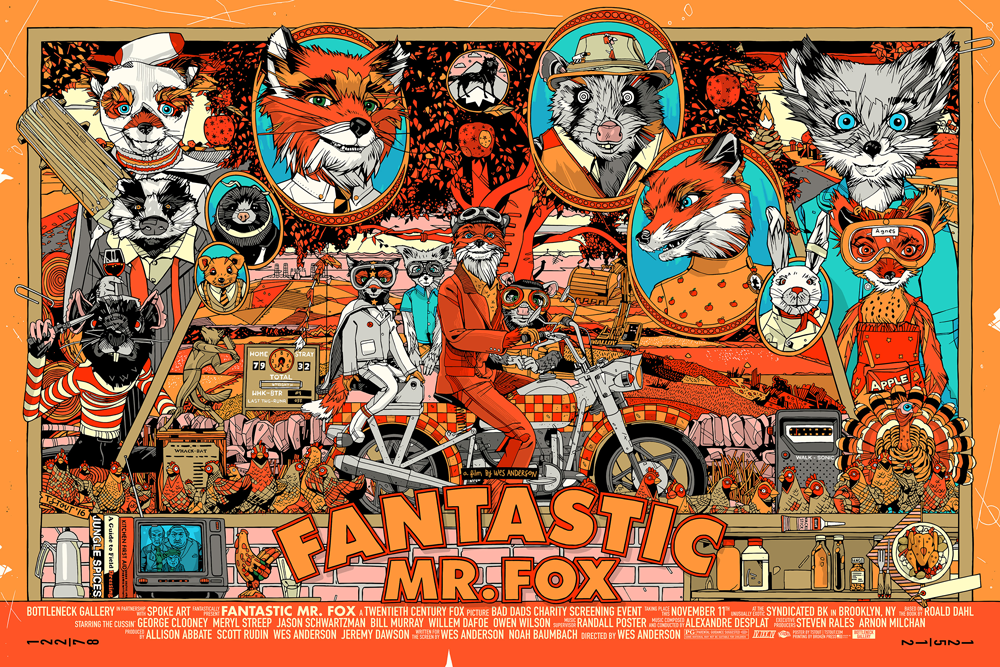 """Fantastic Mr. Fox"" by Tyler Stout.  24"" x 36"" Screenprint.  $65"