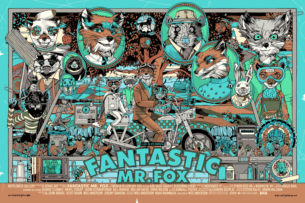 """Fantastic Mr. Fox"" by Tyler Stout.  24"" x 36"" Screenprint.  $110 variant"